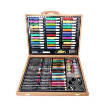 欧锐 绘画文具画笔木盒套装150件 可水洗水彩笔蜡笔 美术画画铅笔木质礼盒装(新老包装混发)