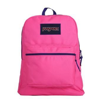 JANSPORT杰斯伯男女款双肩背包校园休闲包书包T08W0CS萤光粉红色/紫色