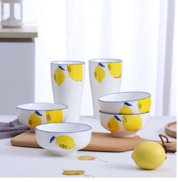 快乐柠檬手绘餐具组合