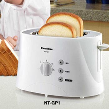松下/Panasonic调理系列多士炉NT-GP1家用烤面包机吐司机白色5档烤色调节一键取消按钮解冻再加热省时又省力