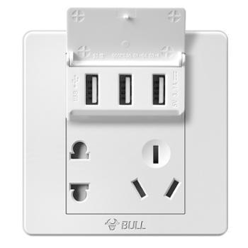 公牛五孔带3位USB接口开关插座GN-G06E536