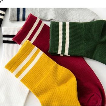先捷尔【5双装】潮流两道杠中长款男女袜
