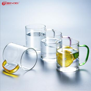 天喜玻璃杯带把茶杯大容量水杯4只装