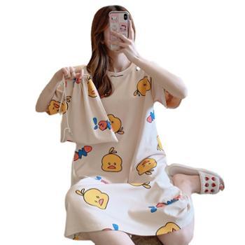 小物家园 女夏季睡裙短袖家居服大码 睡衣