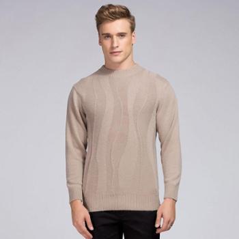衣锦牧园新款商务男装毛衣圆领加厚褶皱纯色羊绒衫男毛衣