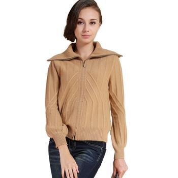 衣锦牧园新款山羊绒衫女士100%纯山羊绒衫毛衣打底针织衫拉链翻领加厚针织开衫