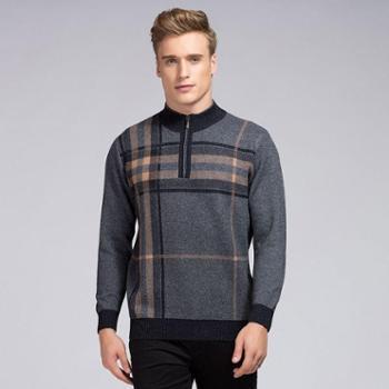 衣锦牧园新款羊绒衫男士商务男毛衣套头半高拉链领拼色加厚羊绒衫针织衫男款