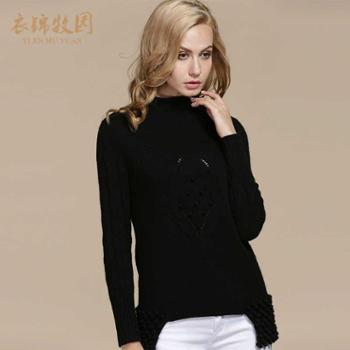 韩版高领黑色打底羊绒衫女大码修身显瘦加厚毛衣女针织衫定制