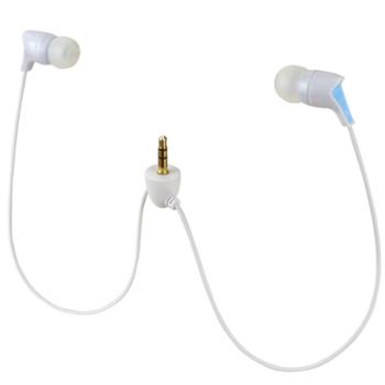 nu 3.5mm镀金接头防水运动游泳跑步MP3专用短线白蓝耳机 适合3.5mm接头的MP3使用