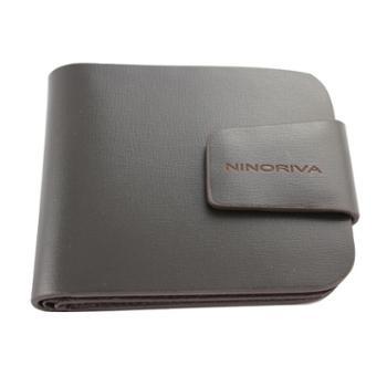 尼诺里拉NINORIVA咖色短款牛皮革男士钱夹NR60059-3
