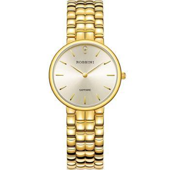 ROSSINI罗西尼石英手表金色钢带女表5814G06C