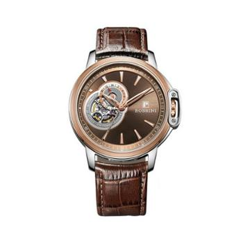 Rossini罗西尼时尚腕表镂空自动机械男表棕盘棕色皮带8633T07E