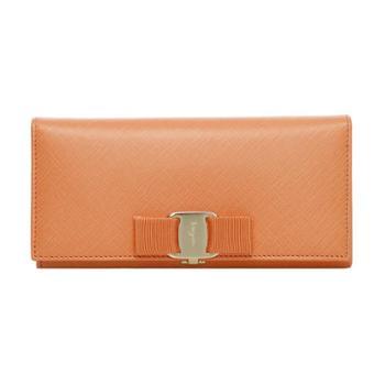 菲拉格慕Ferragamo女士橘色牛皮长款搭扣钱夹22A900656924