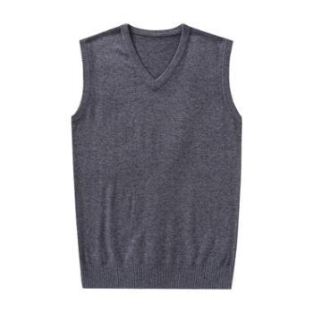 布朗华菲/BrownFairwhale男士羊毛背心马甲坎肩V领无袖针织毛衣1680
