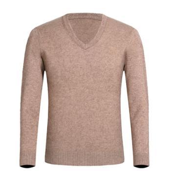 布朗华菲男士加绒加厚圆领长袖毛衣V领针织衫8202