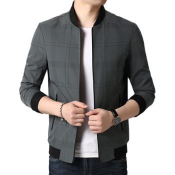 布朗华菲/BrownFairwhale中青年男士夹克棒球领薄款夹克衫上衣服外套