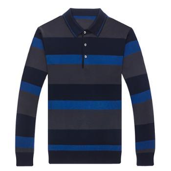 布朗华菲/BrownFairwhale 男士长袖T恤 翻领条纹丝光羊毛针织衫6656