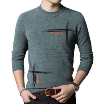 布朗华菲/BrownFairwhale男士纯羊毛衫套头圆领提花加厚针织毛衣7505