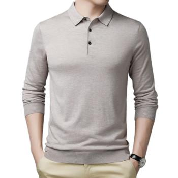 布朗华菲/BrownFairwhale男士羊毛针织衫翻领薄款宽松纯色毛衣703