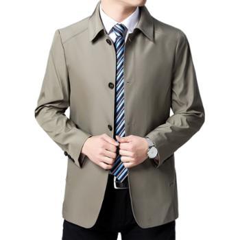 布朗华菲/BrownFairwhale男士夹克中老年纯色翻领薄款外套202