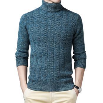 布朗华菲/BrownFairwhale男士毛衣纯羊毛可翻高领粗针加厚针织衫9222