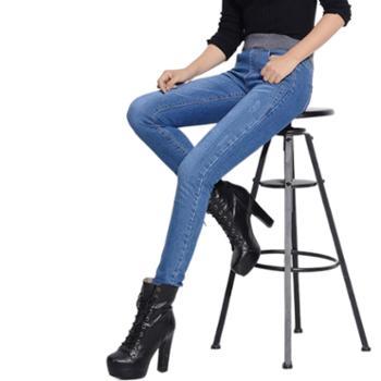 欧熙妮女装牛仔裤松紧腰加绒加厚黄金绒小脚裤