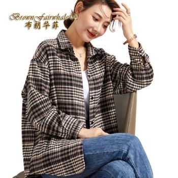 布朗华菲/BrownFairwhale女士衬衫格子宽松开衫羊毛外套9052