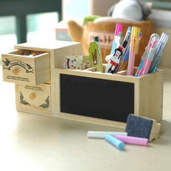 创意时尚带小黑板抽屉木质摆件多功能木笔筒办公收纳盒