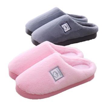 瑶琳秋冬毛绒保暖棉拖鞋厚底包跟防滑室内拖鞋
