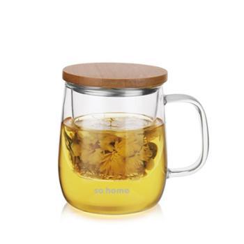 sohome 风尚茶隔办公杯 耐热玻璃水杯透明玻璃个人杯创意带盖