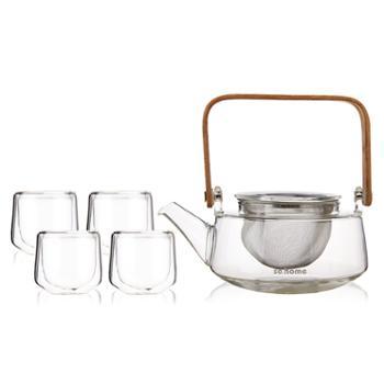 sohome 净思茶具六件礼盒套装 耐热玻璃茶壶过滤泡茶壶茶水分离