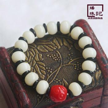 璠珠记白菩提根桶珠椰壳老琉璃手串佛珠手链藏式佛珠