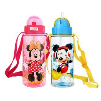 迪士尼儿童塑料杯卡通时尚510ML透明吸管水杯