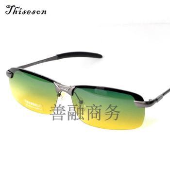 砾石(Thiseson)新款3043日夜两用男士太阳镜潮人偏光墨镜酷经典司机镜驾驶镜