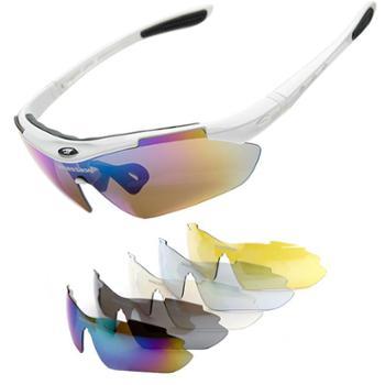 砾石(Thiseson)骑行镜 男女太阳镜 山地车运动眼镜 防风沙偏光带近视框 5组镜片