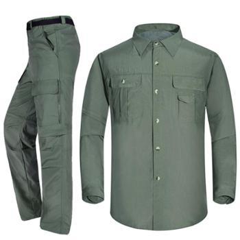 砾石(Thiseson)升级版 情侣速干衣裤套装 两截可拆卸男女户外服装 衬衫快干透气T016