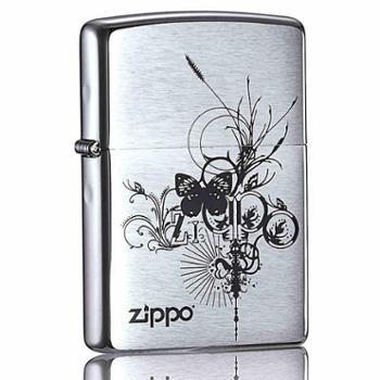 ZIPPO 打火机经典铬蝴蝶花 24800