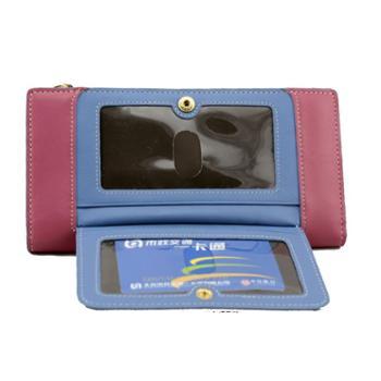 尼诺里拉 NINORIVA 桃红色牛皮革女士长款钱夹 NR60201-1