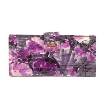 尼诺里拉NINORIVA 紫色时尚印花牛皮长款钱夹 NR60294-1
