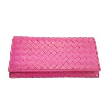 尼诺里拉NINORIVA 玫紅色 女士时尚編織羊皮長款錢夾 NR60308-1