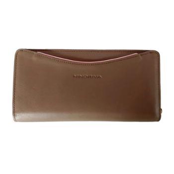 尼诺里拉NINORIVA 咖色 女士时尚可拆卸拉鏈包牛皮革长款钱夹 NR60322-1