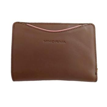尼诺里拉NINORIVA 咖色 女士时尚可拆卸拉鏈包牛皮革中长款钱夹 NR60322-2