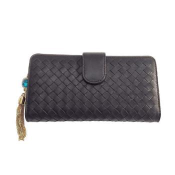 尼诺里拉 NINORIVA 黑色 女士時尚編織长款钱夹 NR60325-3