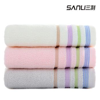三利至简至纯面巾3条3色装(白 粉 灰)
