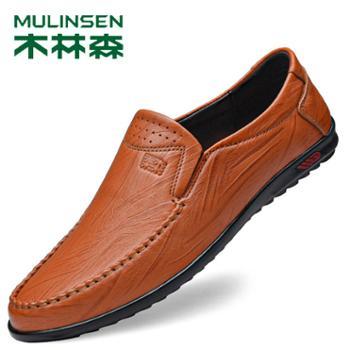 木林森男士休闲牛皮软底豆豆鞋