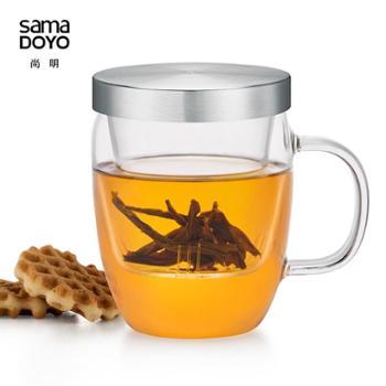 尚明S015B高硼硅耐热玻璃杯500mL带滤网泡茶杯个人办公三件杯