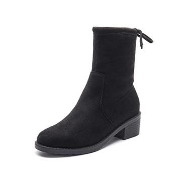 韩都e客秋冬新款瘦瘦靴袜子靴圆头粗跟马丁靴百搭弹力中跟短靴女GX-8