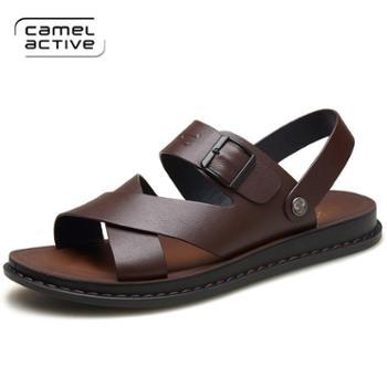 骆驼动感夏季凉鞋男真皮软底中老年人防滑爸爸鞋男士休闲凉拖鞋子