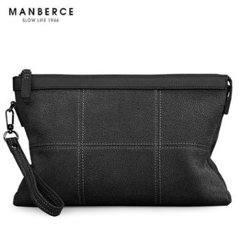 曼伯斯新款时尚男士手抓真皮手拿包韩版粒面软牛皮信封包