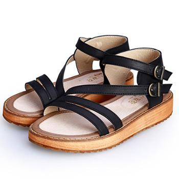哈韩女鞋夏平底凉鞋女上新韩版松糕厚底大码女鞋绑带一字搭扣罗马凉鞋
